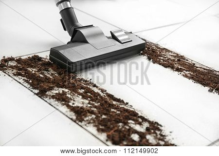 Cleaning concept - carpet sweeper and dust, close up