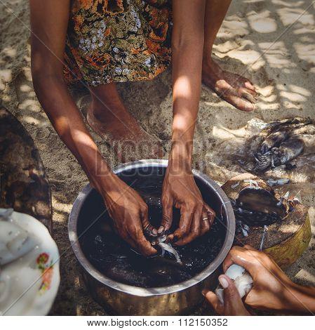 A Myanmar Woman Preparing Squid