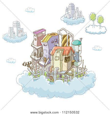 Vector Cartoon Imaginative City Illustration
