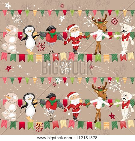 Seamless vintage light beige pattern with traditional Christmas flags, santa, deer, bullfinch. Endless texture for your design, announcements, greeting cards, fabrics, wallpapers, postcards, posters.
