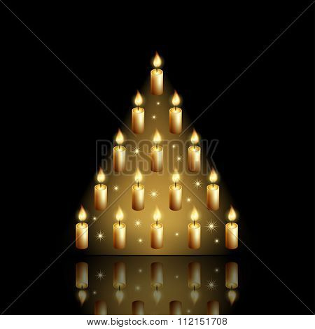 Vector new year tree / Christmas tree of candles and stars