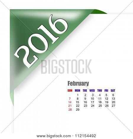 2016 February calendar