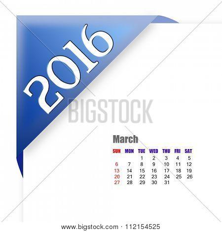 2016 March calendar