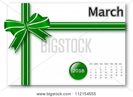 March 2016 - Calendar series with gift ribbon design