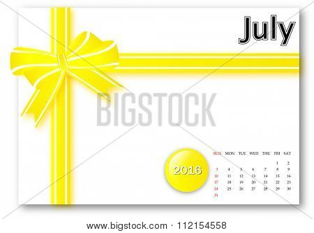 July 2016 - Calendar series with gift ribbon design