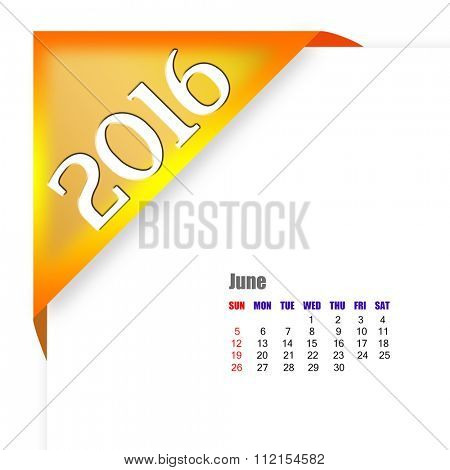 2016 June calendar