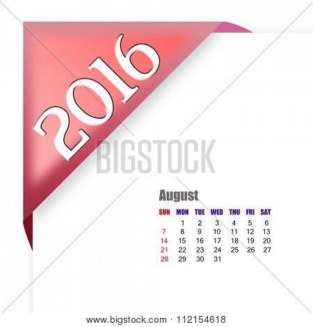 2016 August calendar