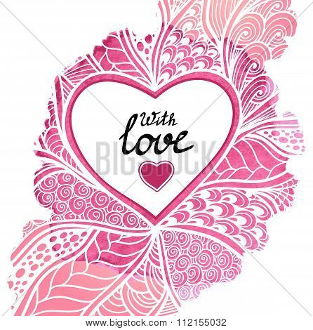 Handmade Abstract Heart frame in Zen-doodle style in pink