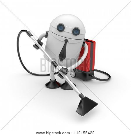 Robot businessman at work