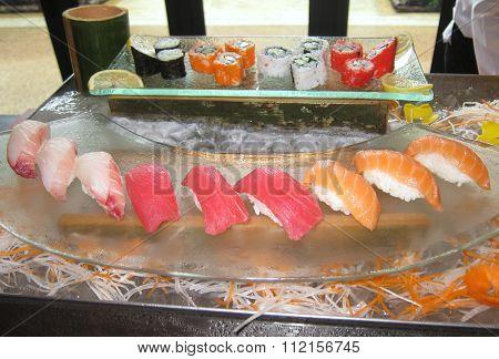 Plate Of Fresh Sushi And Sashimi