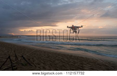 North Shore Bonsai Pipeline Hawaii Sunset Drone Flying By