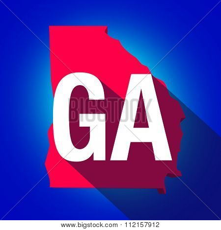 Georgia GA letters on a 3d map of the state as part of the USA United States of America, with long shadow