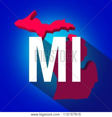 Michigan MI letters on a 3d map of the state as part of the USA United States of America, with long shadow