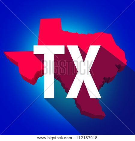 Texas TX letters on a 3d map of the state as part of the USA United States of America, with long shadow