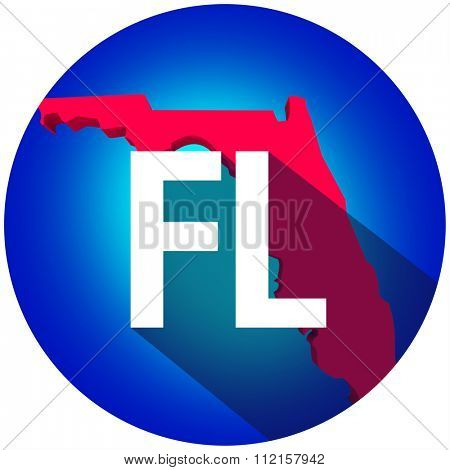 Florida FL letters on a 3d map of the state as part of the USA United States of America, with long shadow