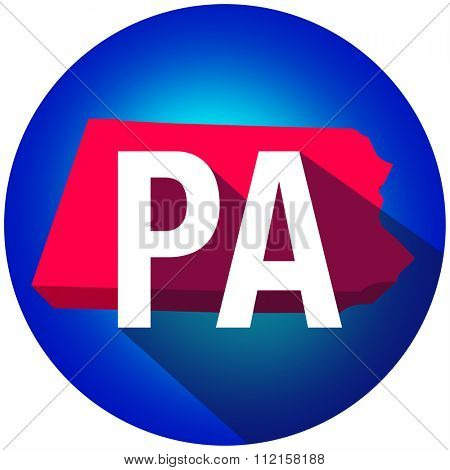 Pennsylvania PA letters on a 3d map of the state as part of the USA United States of America, with long shadow
