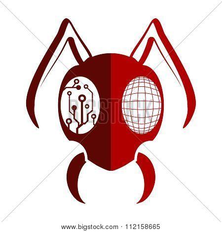 Vector Half Robotic Alien Insect Head illustration