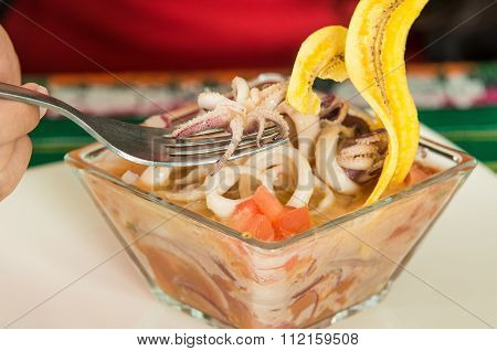 Delicious calamari ceviche, typical ecuadorian plate