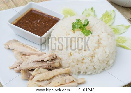 Khao Man Kai (hainanese Chicken Rice, Steamed Chicken And White Rice)