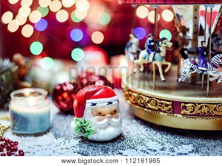Merry Go Round And Candles Chistmas Decoration