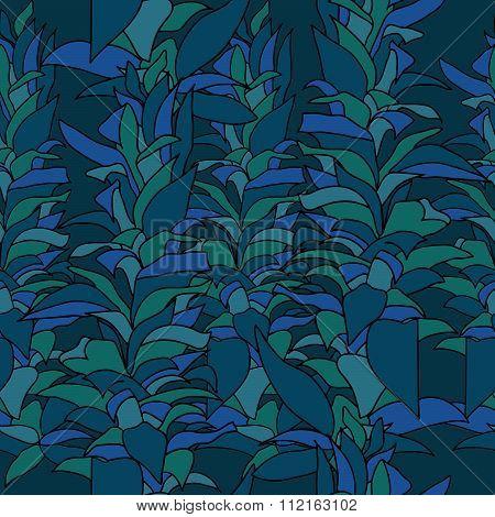 Marine algae seamless pattern.
