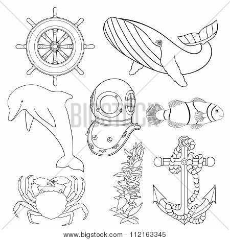 Set of illustrations for children coloring pages.
