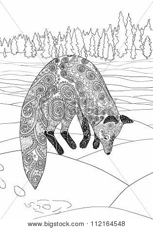 Fox hunt. Adult coloring page for antistress art therapy
