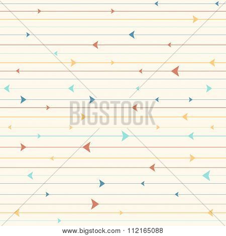 Vector seamless pattern with horizontal stripes and triangles. Modern stylish texture