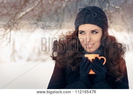 Winter Woman Holding a Hot Drink Mug