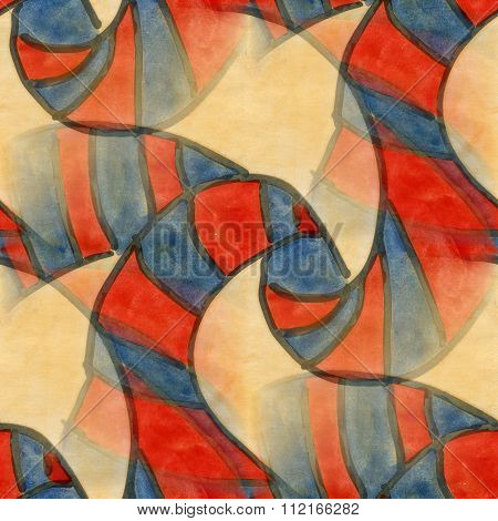 Art red yellow cubism abstract style of picasso seamless wallpaper watercolor