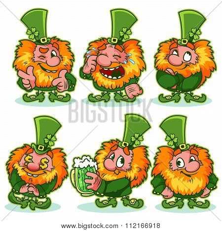 Set Of Funny Red-haired Gnome In Green Costume.