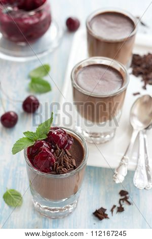 Chocolate Panna Cotta With Chocolate Chips And Cherry Sauce