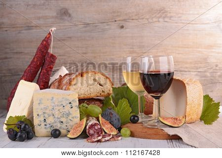 composition with cheese, bread and wine