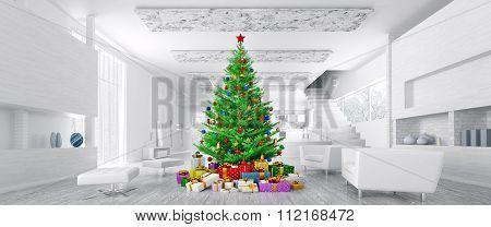 Modern Christmas Interior Panorama 3D Rendering