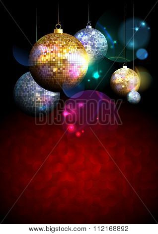 Colorful background with fur tree golden and silver mosaic balls on a dark backdrop with place for text.