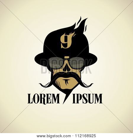 Wild logo with moustached skull dressed in hat and glasses.