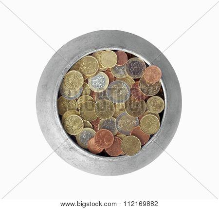 Pot With Euro Coins