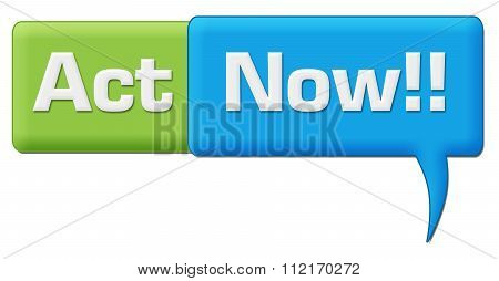 Act Now Green Blue Comment Symbol
