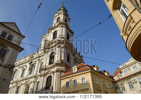 Tower Of Saint Nicholas Church In Prague, Czech Republic.