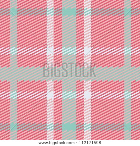 Vector seamless scottish tartan pattern in pink blue turquoise and white.