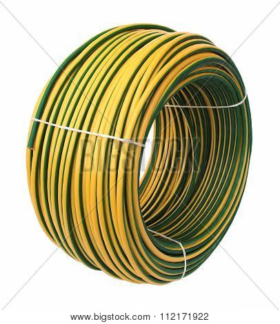Yellow-green Electric Cable, Isolated