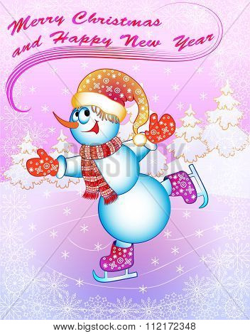illustration snow man on skates with congratulations