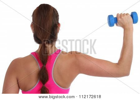 Fitness Workout Woman Exercise Back View Shoulder Sports With Dumbbells Isolated