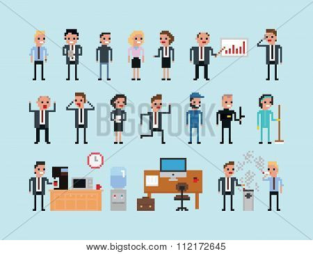 Set of pixel art people icons, office work vector illustration