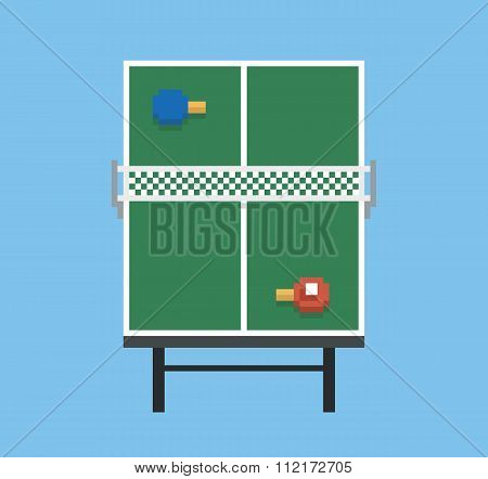pixel art style ping pong and rackets sport table playground green vintage game