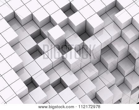 3d illustration of white cubes