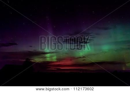 Northern Lights Over The Fields