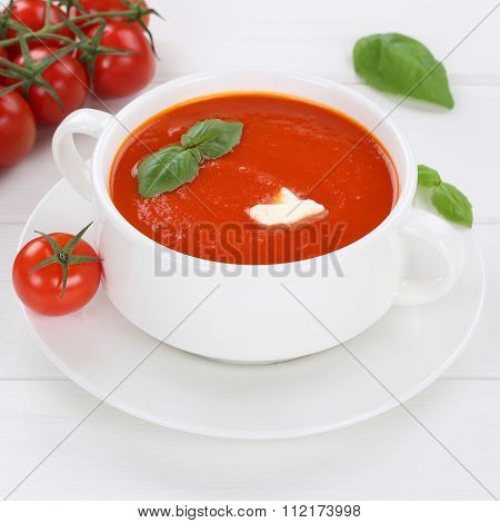 Healthy Eating Tomato Soup With Tomatoes In Bowl