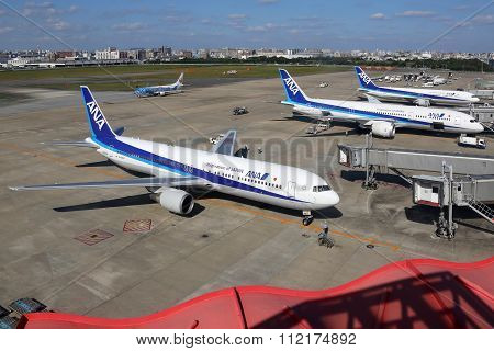 Ana All Nippon Airways Airplanes At Fukuoka Airport In Japan