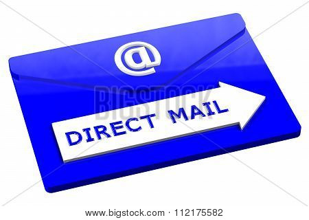 Blue Envelope With Words Direct Mail Isolated On White Background